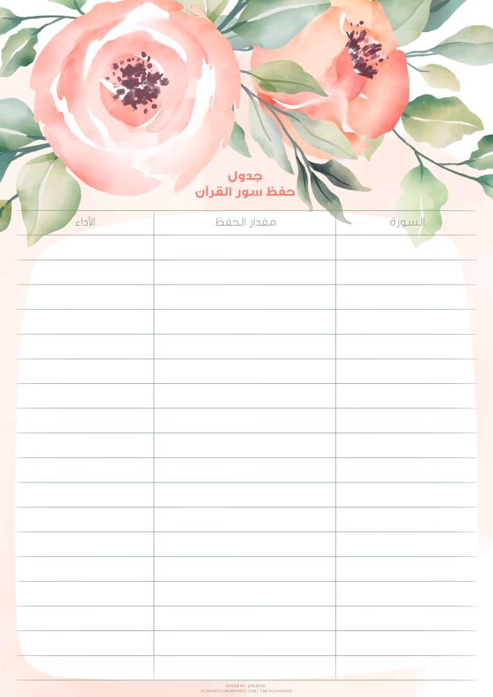 جدول حفظ سور القرآن